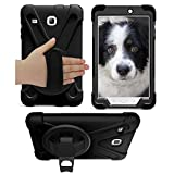 Galaxy Tab E 8.0 Case Cover by KIQ TM Hybrid Protective Shield Case Cover w/ Palm Handstrap for Samsung Galaxy Tab E 8.0 SM-T377 (Shield Black)