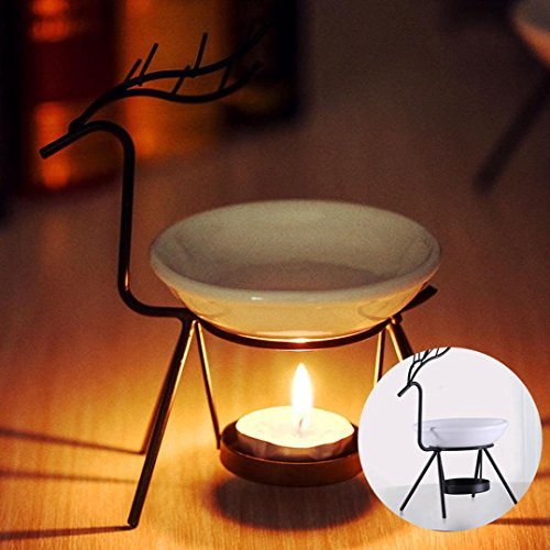 Stainless Steel Aromatherapy Burner - Fenleo Stainless Steel Aroma Burner Deer Style, Candle Aromatherapy Oil Lamp, Aroma Furnace Decorations for Living Room, Balcony, Patio, Porch and Garden (Black)