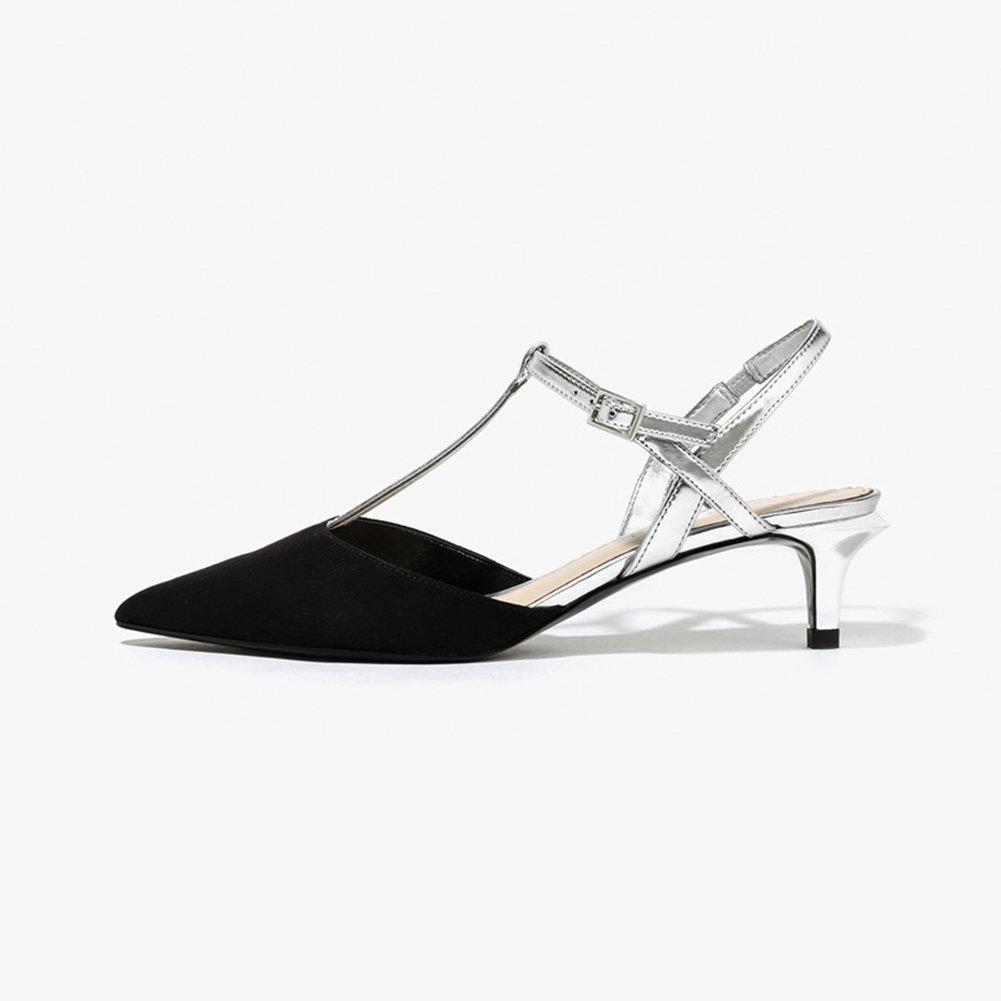 WYYY Zapatos De Mujer Temporada De Verano Bloque De Bajo Talón Gamuza Cinturón Palabra T Apuntado Zapatos De Tacón Medio De Gato Zapatos Planos Zapatos Casuales Fiesta Sandalias Playa EU35/UK3