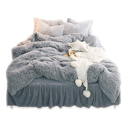 LIFEREVO Luxury Plush Shaggy Duvet Cover Set (1 Faux Fur Duvet Cover + 2 Pompoms Fringe Pillow Shams) Solid, Zipper Closure (King Gray) (Duvet Cover Sofa)