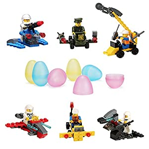 VFunix 12 PCS Minifigures Building Blocks Construction Toys, Variety Educational Blocks with Carrying Egg