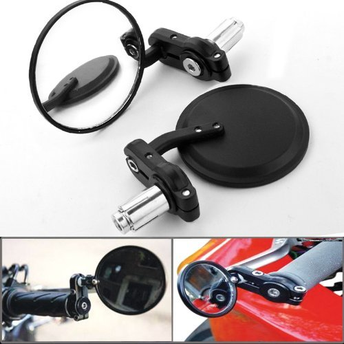 Custom Motorcycle Billet Aluminum 7/8'' Handlebar Bar End Rearview Black Side Mirror 3'' For Triumph Buell Norton Aprilia BMW
