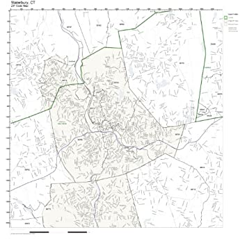 Amazon.com: ZIP Code Wall Map of Waterbury, CT ZIP Code Map Not ...