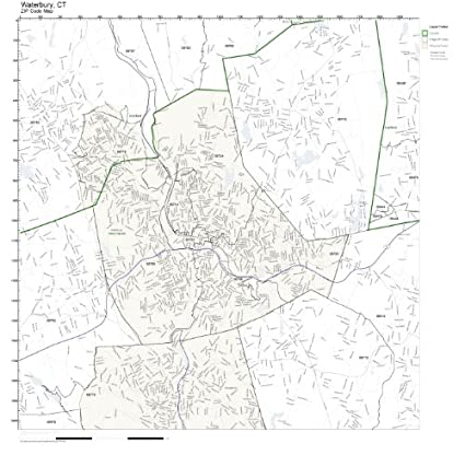Amazon.com: ZIP Code Wall Map of Waterbury, CT ZIP Code Map ...