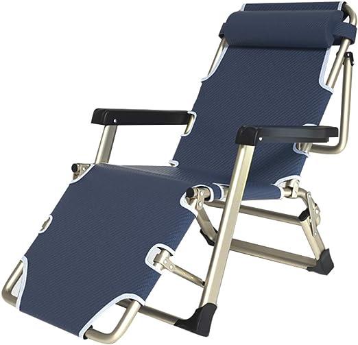 Tumbonas y sillas reclinables de jardín de Metal Plegable para Espacios pequeños | Silla de Oficina reclinable para Adultos con reposapiés en almacén |Sillas de terraza Acampar Playa, Azul: Amazon.es: Hogar