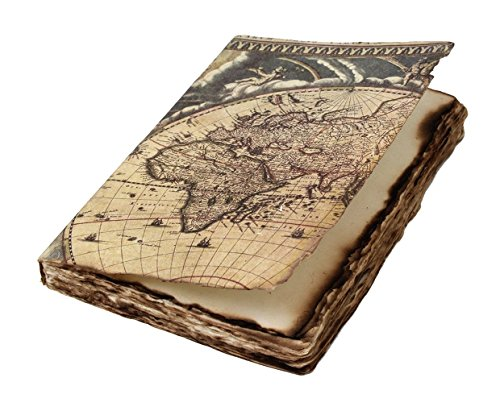 Unlined Personal Journal Diary Sketchbook Notebook with Hard World Map Cover and Handmade Burned Deckle Edges 7 X 5 Inches