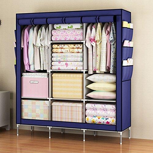 Storage Cabinet Large Fabric Wardrobe (Blue) - 7