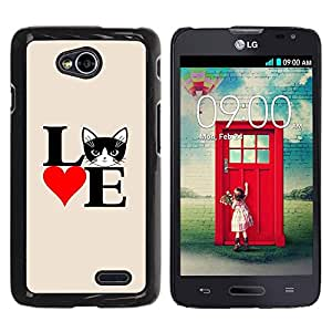 PC/Aluminum Funda Carcasa protectora para LG Optimus L70 / LS620 / D325 / MS323 Cat Love Poster Black White Heart / JUSTGO PHONE PROTECTOR