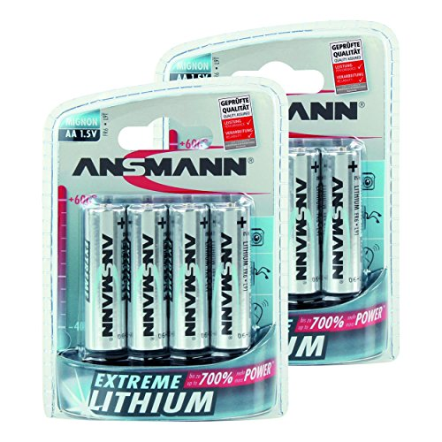 Lithium High Performance Battery (ANSMANN Extreme AA Lithium Battery Lithium AA 1,5V - Higher Performance & Capacity for extreme Temperatures heat & cold for action cam, GoPro, camera, speedlites etc. (2x 4-Pack))