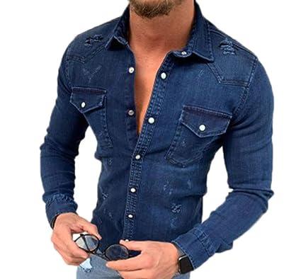 size 40 f3756 0faeb huateng Camicie di Jeans da Uomo semplicità, Cappotto di ...