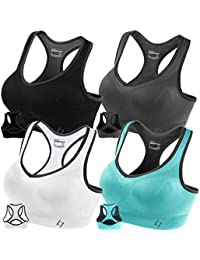 Racerback Sports Bras for Women- Padded Seamless High Impact Support for Yoga Gym Workout Fitness