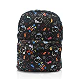Finex Hello Kitty Pattern Black Canvas Cute Cartoon Casual Backpack with 15 inch Laptop Storage Compartment Daypack Travel Snack Sport Bag Gift