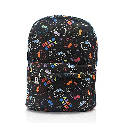 Finex Hello Kitty Pattern Black Canvas Cute Cartoon Casual Backpack with 15 inch Laptop Storage Compartment Daypack Travel Snack Sport Bag Gift ()