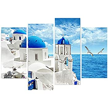 gold mi Greece Churches White and Blue Aegean Sea Canvas Print Wall Art Picture Painting for Living Room Office Wall Decor Mediterranean Sea Landscape Home Decorations (A:12x24inchx2+12x32inchx2)