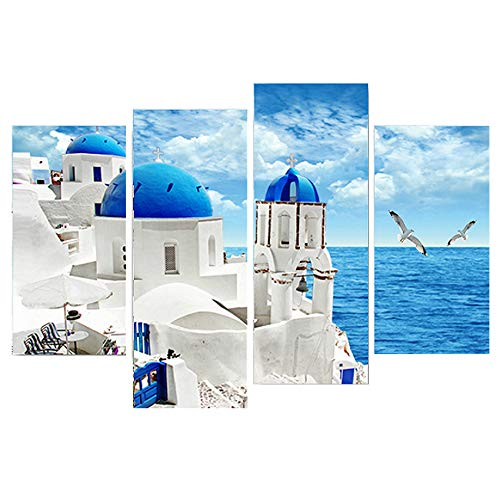 4 Panels Greece Churches White and Blue Aegean Sea Canvas Print Wall Art Picture Painting for Living Room Office Wall Decor Mediterranean Sea Landscape Home Decorations (A:12x24inchx2+12x32inchx2)