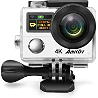 Anti-Shake 4K Action Camera, Ultra HD Action Cam, AMKOV 8000S Waterproof WIFI Sports Camera , 170 Degree Angle Underwater Camera With 12MP Photo Resolution and 4K Video Resolution (silver)
