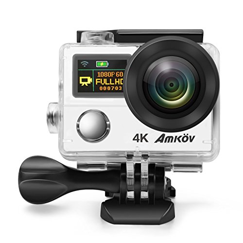 Anti-Shake 4K Action Camera, Ultra HD Action Cam, AMKOV 8000S Waterproof WIFI Sports Camera , 170 Degree Angle Underwater Camera With 12MP Photo Resolution and 4K Video Resolution (silver) by AMKOV