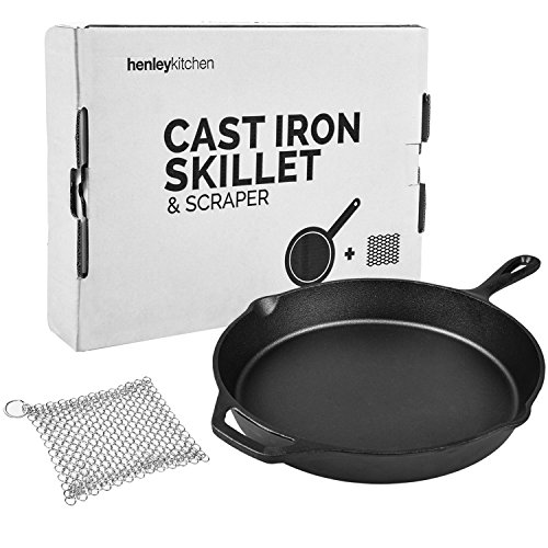 Henley Kitchen - Pre-Seasoned Cast Iron Skillet - 12 Inch - Classic Cast Iron Frying Pan with (FREE) Stainless Steel Scraper Add-On