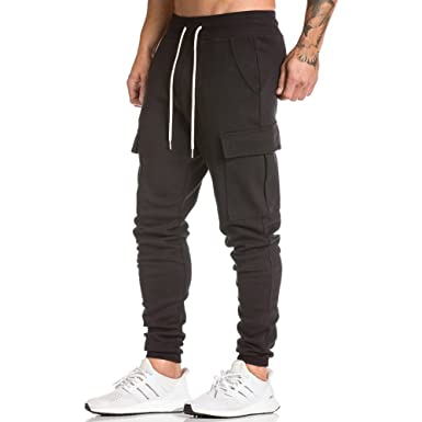 b66e0a54c3f4 Men's Gym Fitness Workout Pants Bodybuilding Tapered Athletic Joggers  Running Pants with Zippered Cargo Pockets Black
