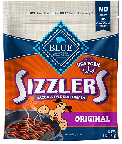 - Blue Buffalo Sizzlers Bacon-Style Soft-Moist Dog Treats, Original Pork 6-oz bag