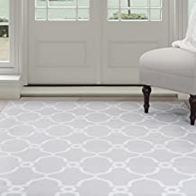 Lavish Home Lattice Area Rug, 3-Feet 3-Inch by 5-Feet, Grey/Ivory
