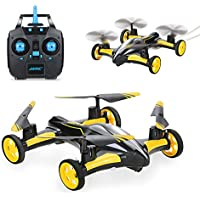 SZJJX RC Flying Car Air-Ground Quadcopter Remote Control Drones 6-Axis Gyro 2.4Ghz 6CH Land/Sky 2 Modes Helicopter Yellow