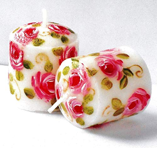 Painted Hand Candle Roses (Decorative Hand Painted Pink Rose Small Little Short White Votive Candles Set Shabby Chic Decor)