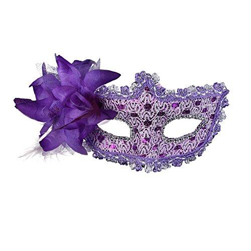 Masquerade Party Masks-Rehot Womens Masks Venetian Ball Prom Mardi Gras Halloween Masks (Purple -