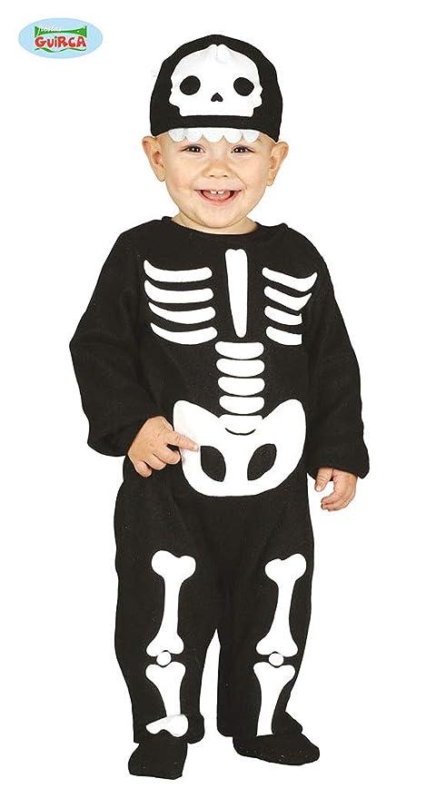 Guirca Rudy Traje de Esqueleto para niño 12/24 Meses, Color Negro y Blanco, 2 años, 87011