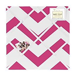 Hot Pink and White Chevron Zig Zag Fabric Memory/Memo Photo Bulletin Board