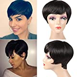 Short Human Hair Wigs for Black Women 100% Unprocessed Short Pixie Cute Wig Free Part Brazilian Human Hair Wigs 85g Short Wigs for Black women Can Be Dyed And Bleached Natural Color For Sale