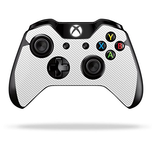 Mightyskins Protective Vinyl Skin Decal Cover for Microsoft Xbox One/ One S Controller wrap sticker skins White Carbon Fiber