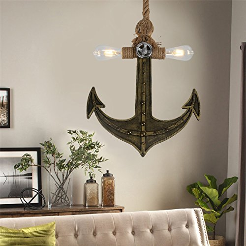 OYLYW Vintage Industrial Hemp Rope Loft Pendant Lights Wood Boat Anchor Design Living Room Dining Room Kitchen with 2 Light Painted Finish (Bronze+Black) by OYLYW (Image #6)