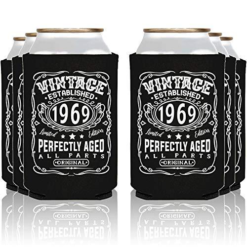 NeeNoNex Vintage Established 1969 Can Coolie Coolers (24, Blk, 1969) (Vintage Beer)
