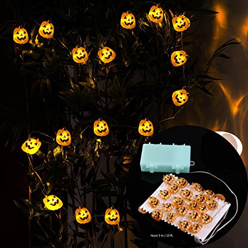 10ft 3D Pumpkin 40 LEDs Battery Operated LED Fairy String Lights Halloween Decor (How To Make An Assassins Creed Costume)