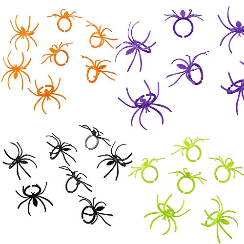 Crazy Night Halloween Spider Rings Plastic Cupcake Topper Halloween Party Favors -144 pcs (Multicolored)]()