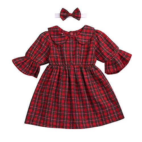 YOUNGER TREE Toddler Baby Girls Summer Suit Red Plaid 3/4 Sleeve + Stand Collar + Headband Dress Set (Red Plaid, 12-18 Months)