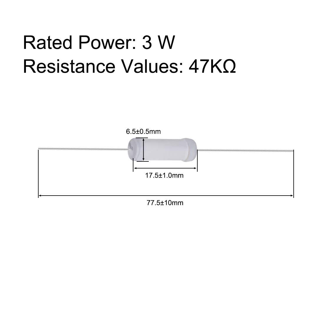 sourcing map 40pz 3W 3 Watt ossido metallo resistore a pellicola filo assiale 47K Ohm /± 5/% tolleranza