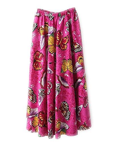 Mujer Falda Larga Floral Vintage Retro Gasa Fiesta Plisada Cinturón Como la Imagen 17