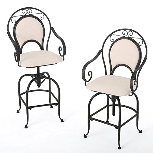 Brossard Black Brush Silver w/ Beige Fabric Swivel Armed Barstool (Set of 2) (Armed Bar Stool)