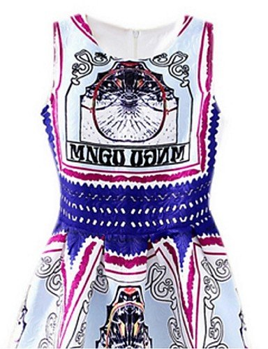PU&PU Robe Aux femmes Gaine Street Chic,Imprimé Col Arrondi Au dessus du genou Polyester , white-xl , white-xl