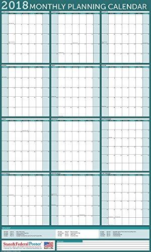 ar (Turquoise) Laminated, Erasable Calendar 40 x 27