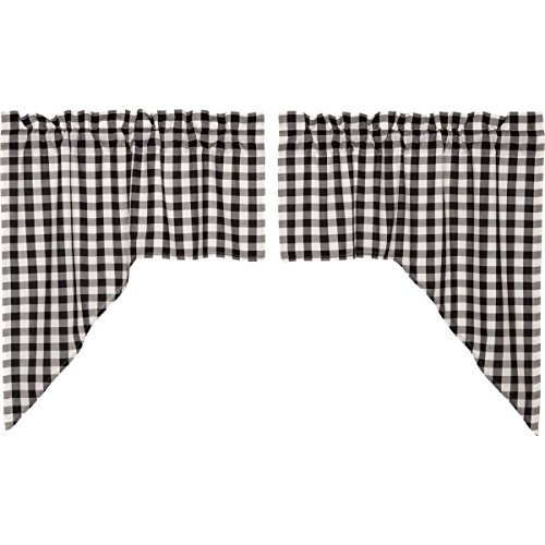 VHC Brands Classic Country Farmhouse Kitchen Window Curtains - Annie Buffalo Check White Lined Swag Pair, ()