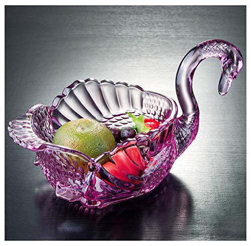 - Fruit Bowls Fruit Plate Glass Fruit Plate Candy Dish European Creative Living Room Wedding Gift Decoration Swan Fruit Plate -007 (color : A)