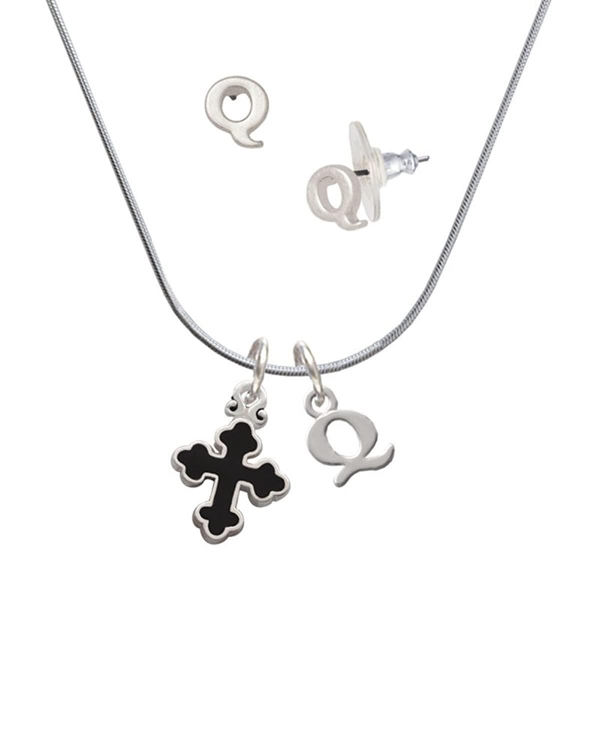 Small Black Enamel Botonee Cross - Q Initial Charm Necklace and Stud Earrings Jewelry Set