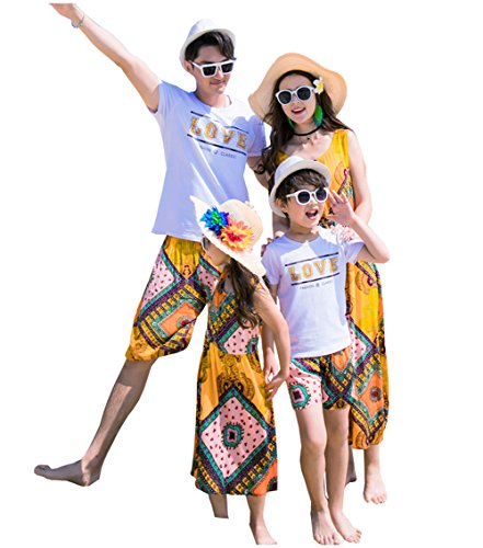 Dad Mom &Babies Floral Family Matching Outfits Tops Pants Yellow Long Maxi Dresses Summer Parent-Child Clothing (Boys A, Size (Family Matching Costumes)