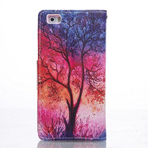 ikasus - Cartera de mano para hombre Purple Galaxy Red Blue Tree
