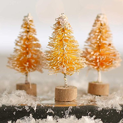 Factory Direct Craft 18 Piece Package of 1.5 inch Miniature Frost Covered Butterscotch Bottle Brush Trees on Wood Bases for Crafting Holiday Displays, and Miniature - Base Butterscotch