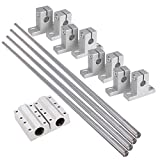 BQLZR 8mm Dia Silver Linear Motion Ball Bearing Linear Shaft Rail Guide Support 500mm Shaft Optical Axis Set of 16