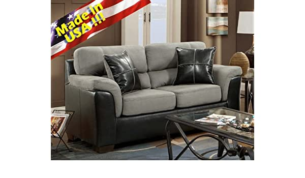 Amazon.com: Roundhill Furniture Laredo 2 Tone Loveseat, Black And Grey:  Kitchen U0026 Dining